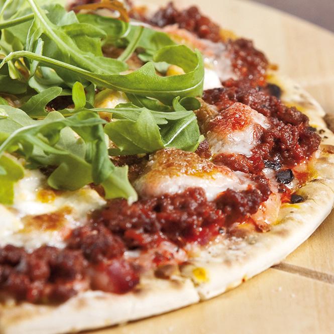 receta pizza picadillo rucula queso de cabra